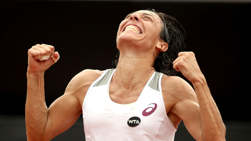 *** BESTPIX *** RIO DE JANEIRO, BRAZIL - FEBRUARY 21: Francesca Schiavone of Italy celebrates defeating Shelby Rogers of the United States in the final during the Rio Open at Jockey Club Brasileiro on February 21, 2016 in Rio de Janeiro, Brazil. (Photo by Matthew Stockman/Getty Images)