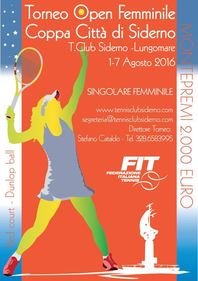 Locandina Open Femminile Città di Siderno1-7 Agosto 2016